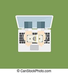 bankrörelse, få, pengar, direkt, lott, internet