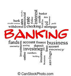 bankrörelse, ord, moln, begrepp, in, röd, &, svart