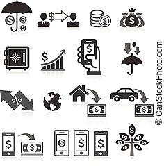 bankrörelse, sätta, begrepp, affär, ikonen