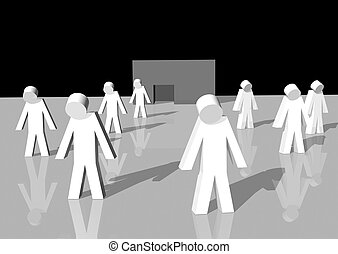 Bankrupt - 3d rendering of white men walking away from a...