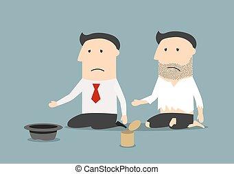 Bankrupt businessman and pauper begging money - Bankruptcy, ...
