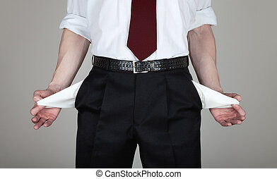 Bankrupt Businessman - The businessman in a white shirt and...