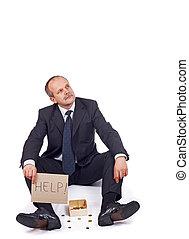 Bankrupt businessman asks for help-isolated