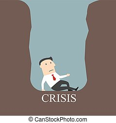 Bankrupt businessman sitting in a crisis pit