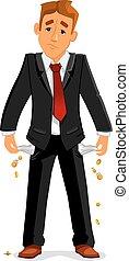 Bankrupt businessman with empty pockets - Frustrated broke ...