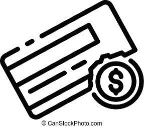 Bankrupt credit card icon, outline style - Bankrupt credit ...