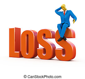 Bankrupt loss concept isolated on white
