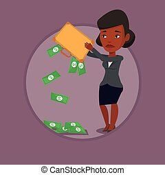 Bankrupt shaking out money from her briefcase.