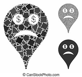 Bankrupt smiley map marker Composition Icon of Joggly Parts