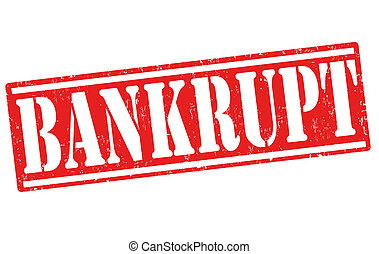 Bankrupt rubber stamp on white, vector illustration