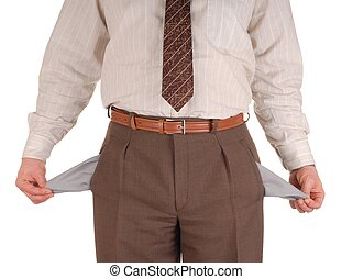 Bankrupt - Businessman showing empty pockets, isolated on...
