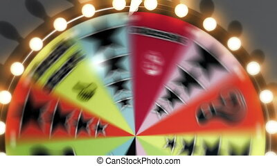 """Three clips of a generic game show spinning wheel as it lands on the """"Bankrupt"""", """"Success"""" and """"Fresh Start"""" slots."""