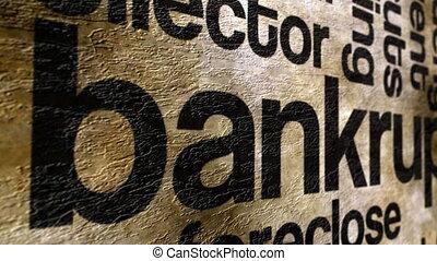 Bankrupt text on grunge background