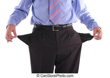 Bankrupt - The gone bankrupt businessman stands with the...