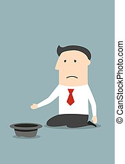Depressed bankrupt businessman begging for money, job or help. Business concept of bankruptcy, financial crisis, jobless and poverty