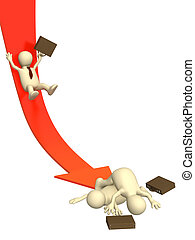 Bankruptcy - 3d businessman, sliding downwards on an arrow