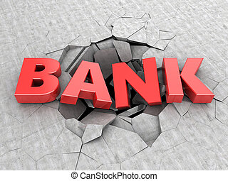 bankruptcy - 3d illustration of text bank in concrete hole