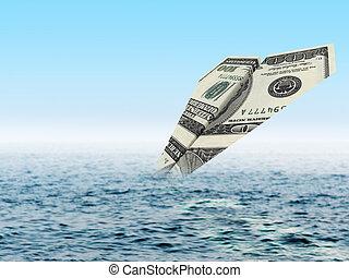 Bankruptcy business. Money plane crash in sea