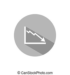 Bankruptcy chart icon with shade on grey button