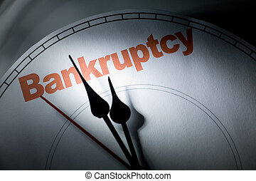 Bankruptcy - clock face, concept of bankruptcy, financial...