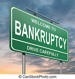 Bankruptcy concept. - Illustration depicting a green ...