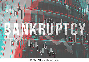 Bankruptcy concept on the background of a modern building.