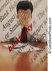 Dictionary definition of bankruptcy and manager facing bankruptcy. Concept of world economic crisis.