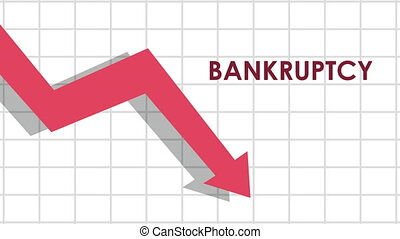 bankruptcy financial animation with arrow down ,4k video animated