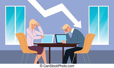 bankruptcy financial animation with arrow down and business couple ,4k video animated