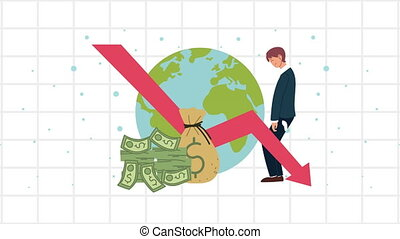 bankruptcy financial animation with arrow down and businessman in earth planet ,4k video animated