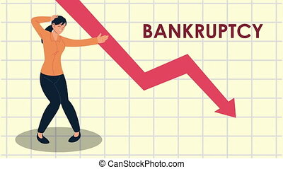 bankruptcy financial animation with arrow down and businesswoman ,4k video animated