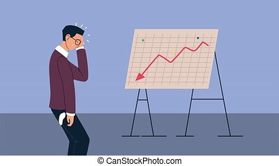 bankruptcy financial animation with depressed businessman and paperboard ,4k video animated