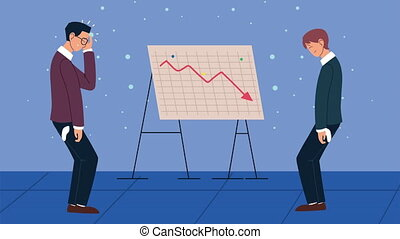 bankruptcy financial animation with depressed businessmen ,4k video animated