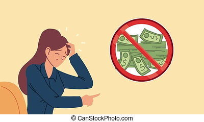 bankruptcy financial animation with depressed businesswoman and dont money symbol ,4k video animated
