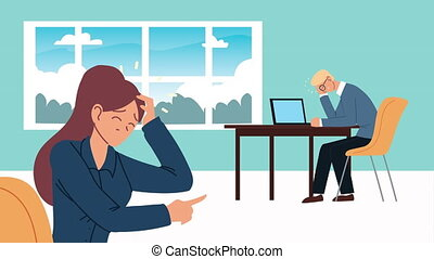 bankruptcy financial animation with depressed couple ,4k video animated