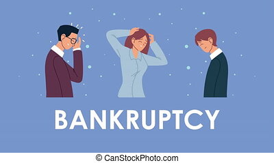 bankruptcy financial animation with depressed people ,4k video animated