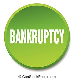 bankruptcy green round flat isolated push button