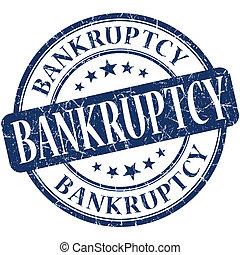 Bankruptcy grunge blue round stamp