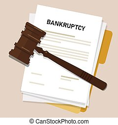 bankruptcy legal law document process company insolvency during crisis recession picture of gavel judge