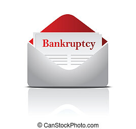 bankruptcy notice letter and envelope over a white ...