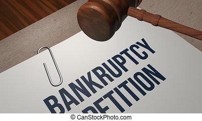 Bankruptcy petition legal concept shot clip