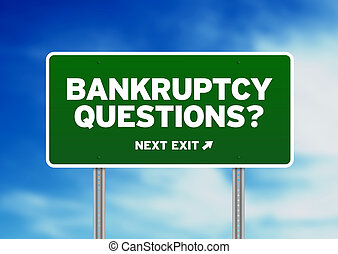 Green Bankruptcy Questions Road highway sign on Cloud Background.