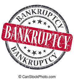 Bankruptcy red grunge round stamp on white background