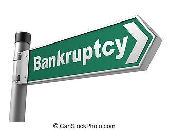 bankruptcy road sign 3d illustration