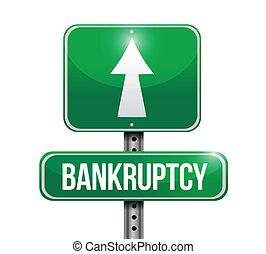 bankruptcy road sign illustration design