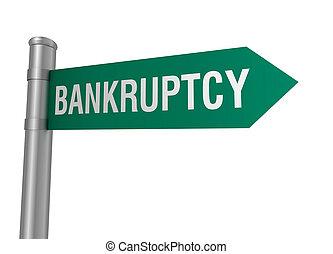 bankruptcy road sign
