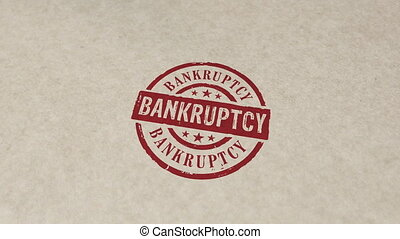 Bankruptcy stamp and stamping animation