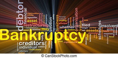 Bankruptcy word cloud glowing - Word cloud concept...