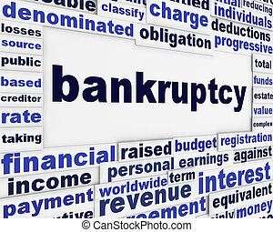 Bankruptcy word clouds background