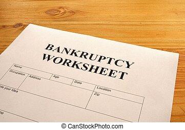 bankruptcy worksheet form or document showing business...